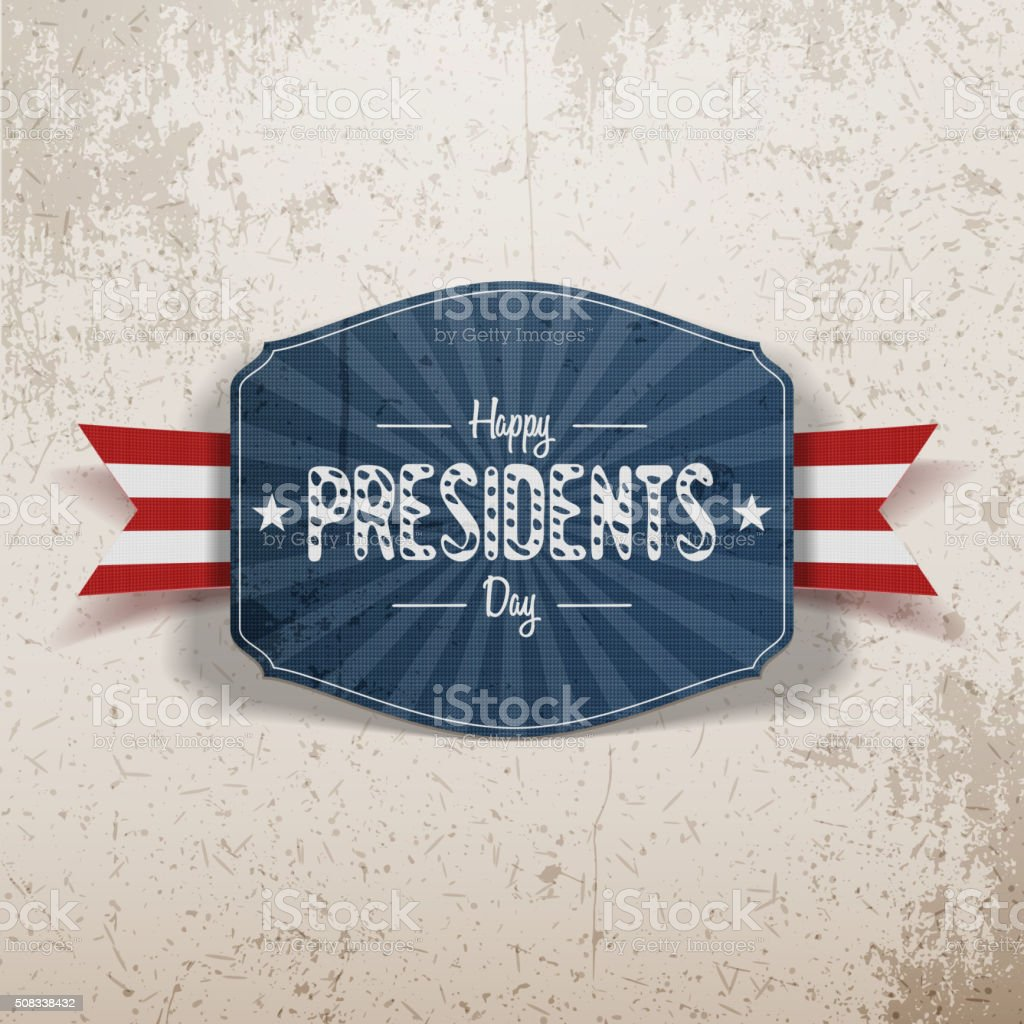 Happy Presidents Day retro blue Banner with Ribbon vector art illustration