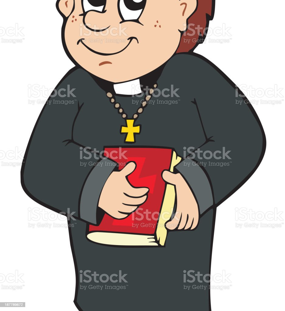 Happy priest vector art illustration