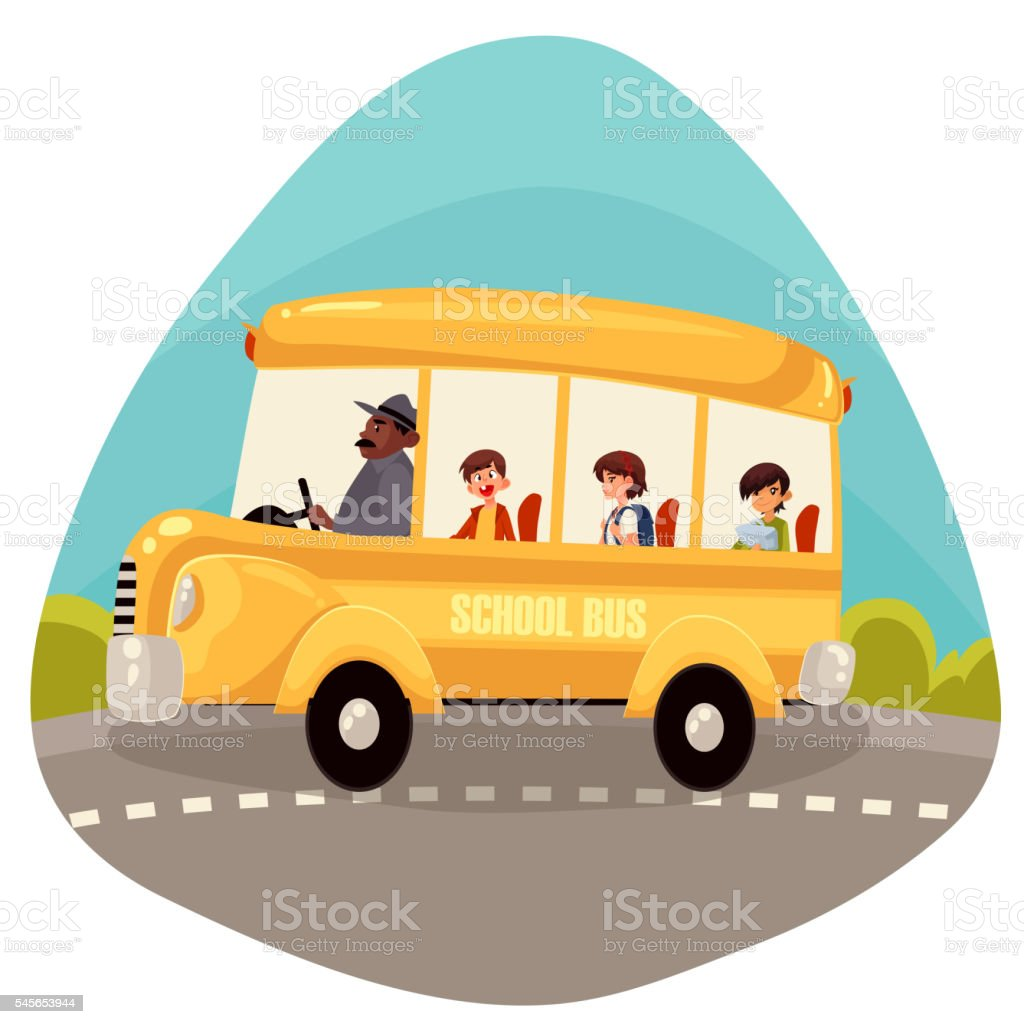 Happy primary students riding school bus vector art illustration
