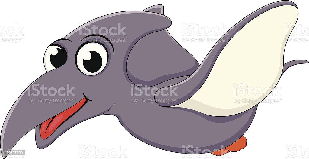 Happy Pterodactyl dinosaur flying royalty-free stock vector art
