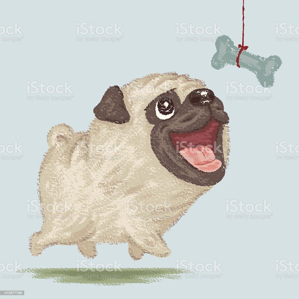 Happy Pug and bone royalty-free stock vector art