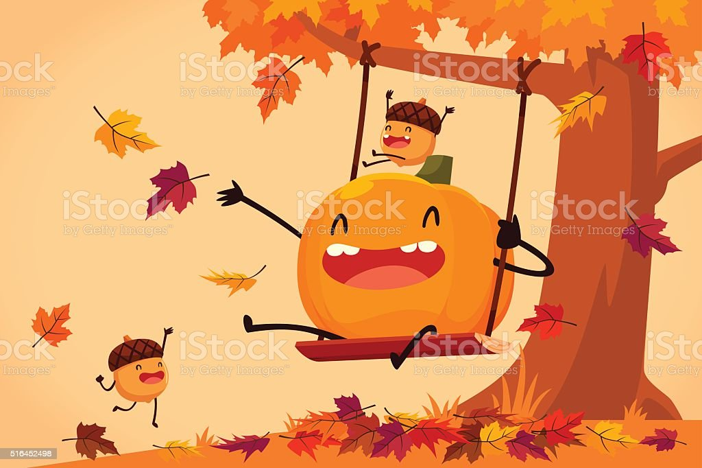 happy pumpkin and acorns playing on swing in autumn leaves vector art illustration