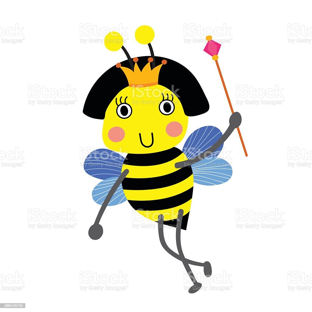 Happy Queen Bee holding scepter animal cartoon character vector illustration. vector art illustration