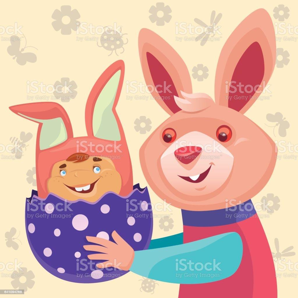 happy rabbit with bunny baby vector art illustration