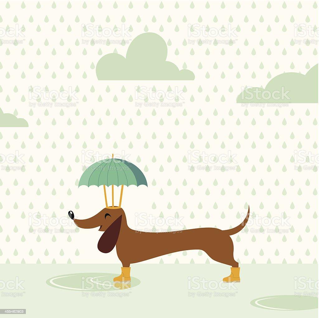 Happy rainy dog vector art illustration