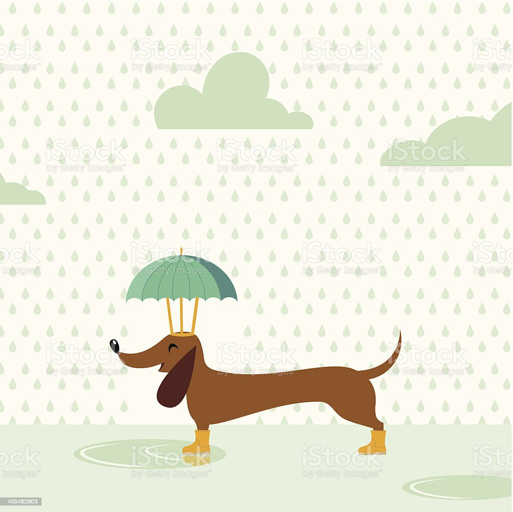 Happy rainy dog vector art illustration