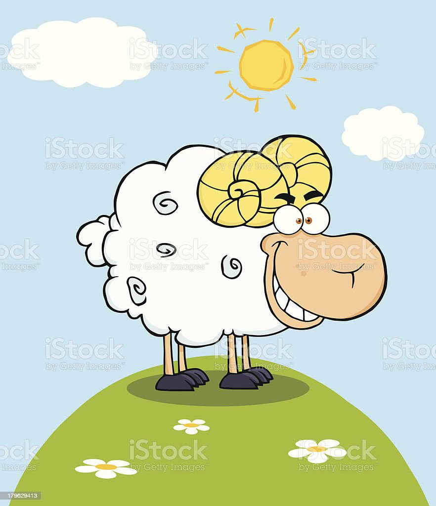 Happy Ram Cartoon Mascot Character On A Hill royalty-free stock vector art