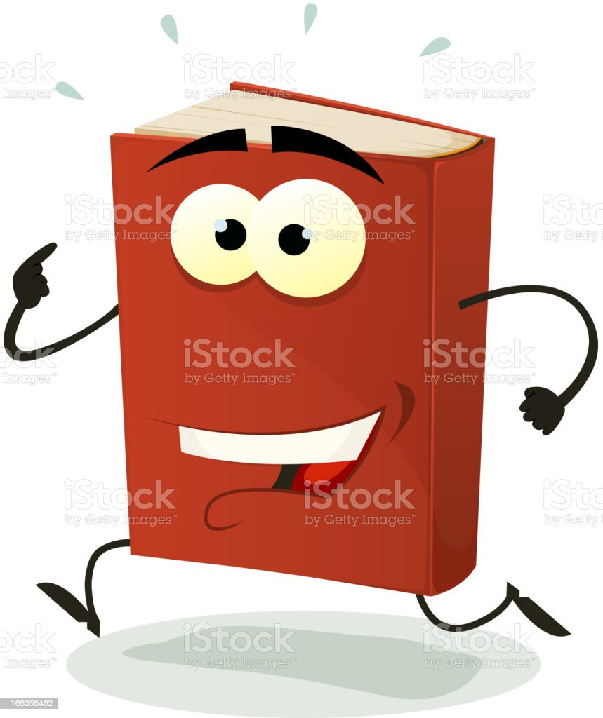 Happy Red Book Character Running royalty-free stock vector art