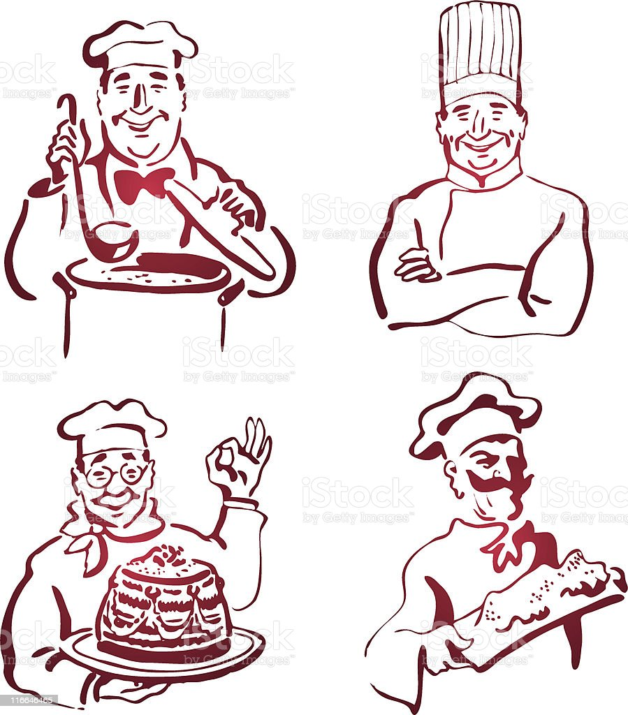 Happy red dinner pastry Chefs royalty-free stock vector art