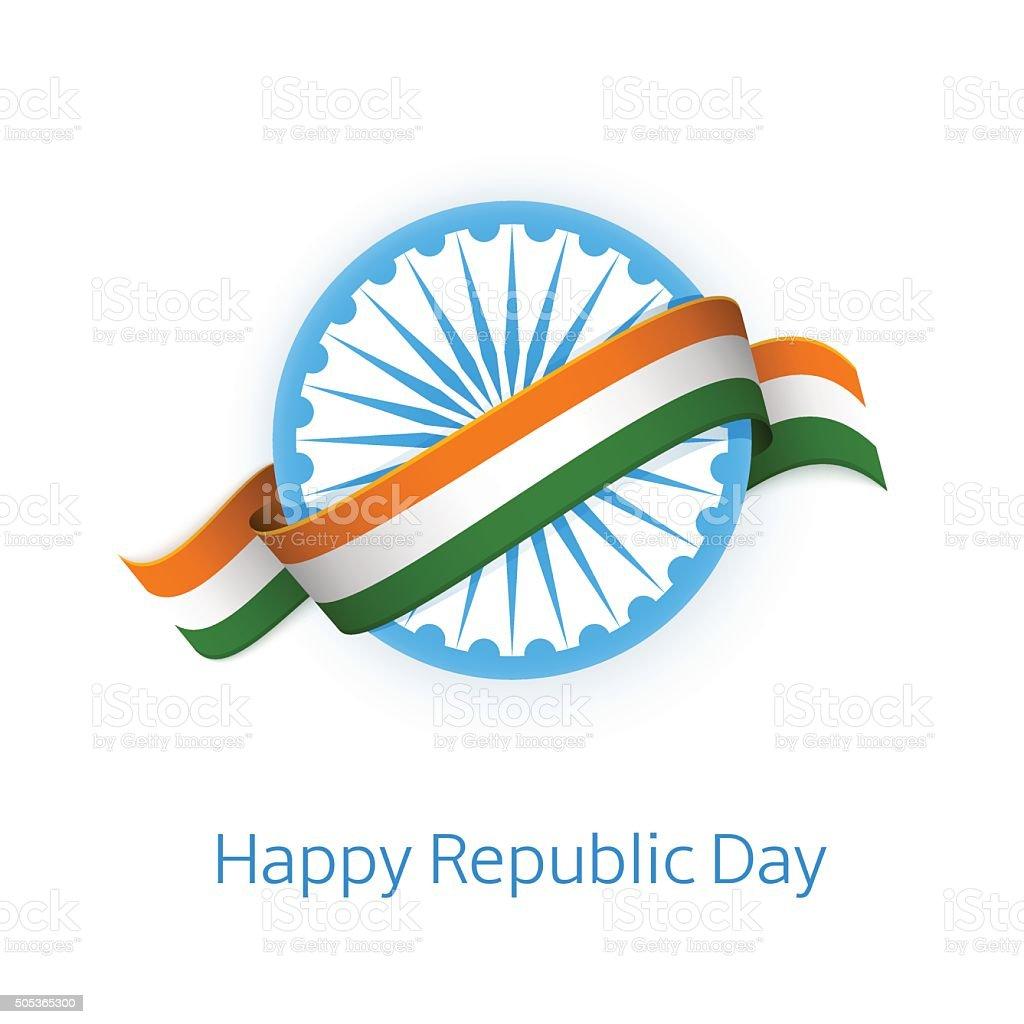 Happy Republic Day. Indian flag on Ashoka wheel. vector art illustration