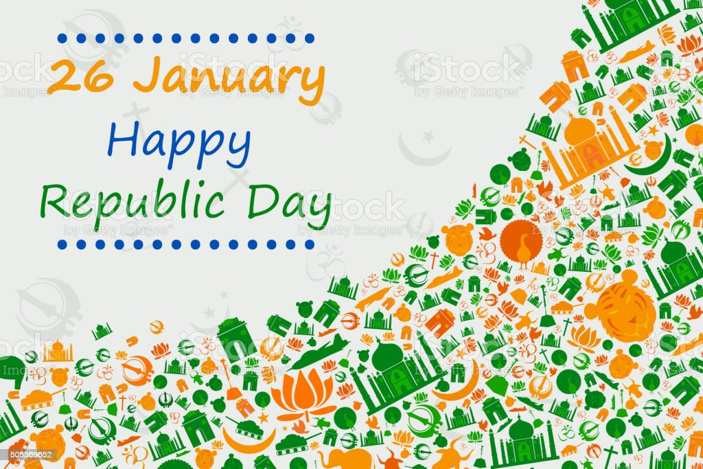 Happy Republic Day of India vector art illustration