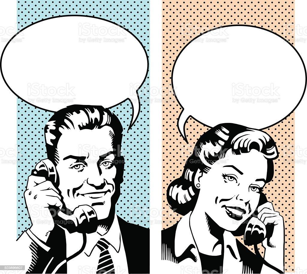 Happy Retro Couple talking on the Phone vector art illustration