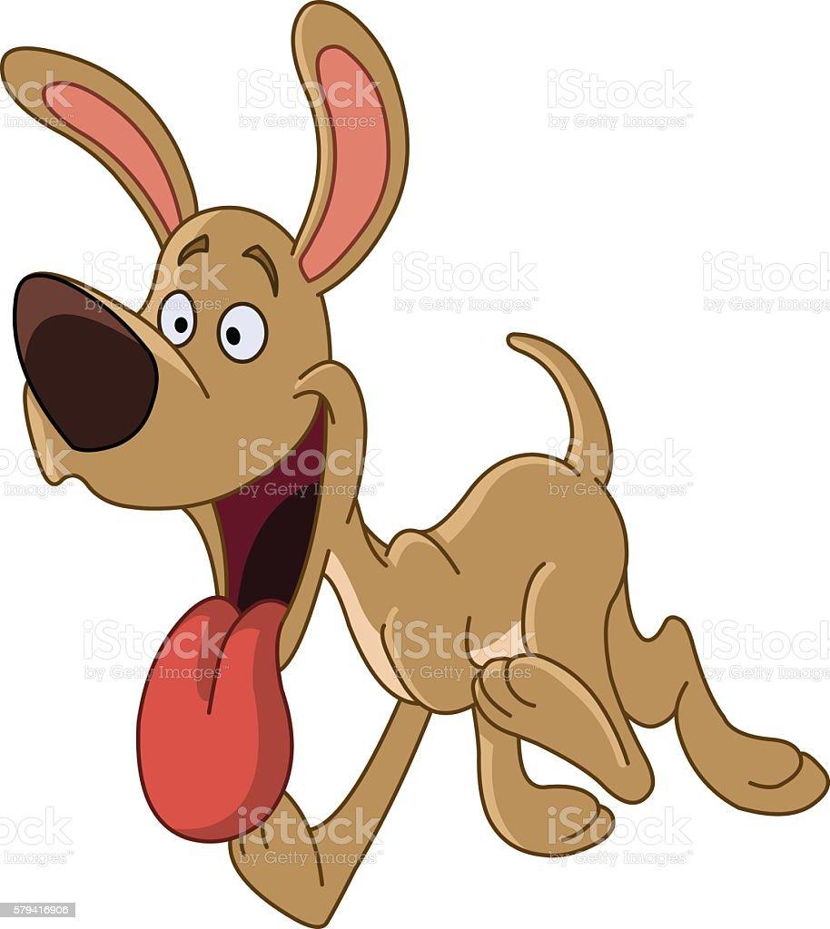 Happy running dog vector art illustration