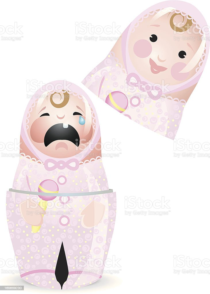 Happy, Sad Matryoshka Cry Baby Girl Doll royalty-free stock vector art