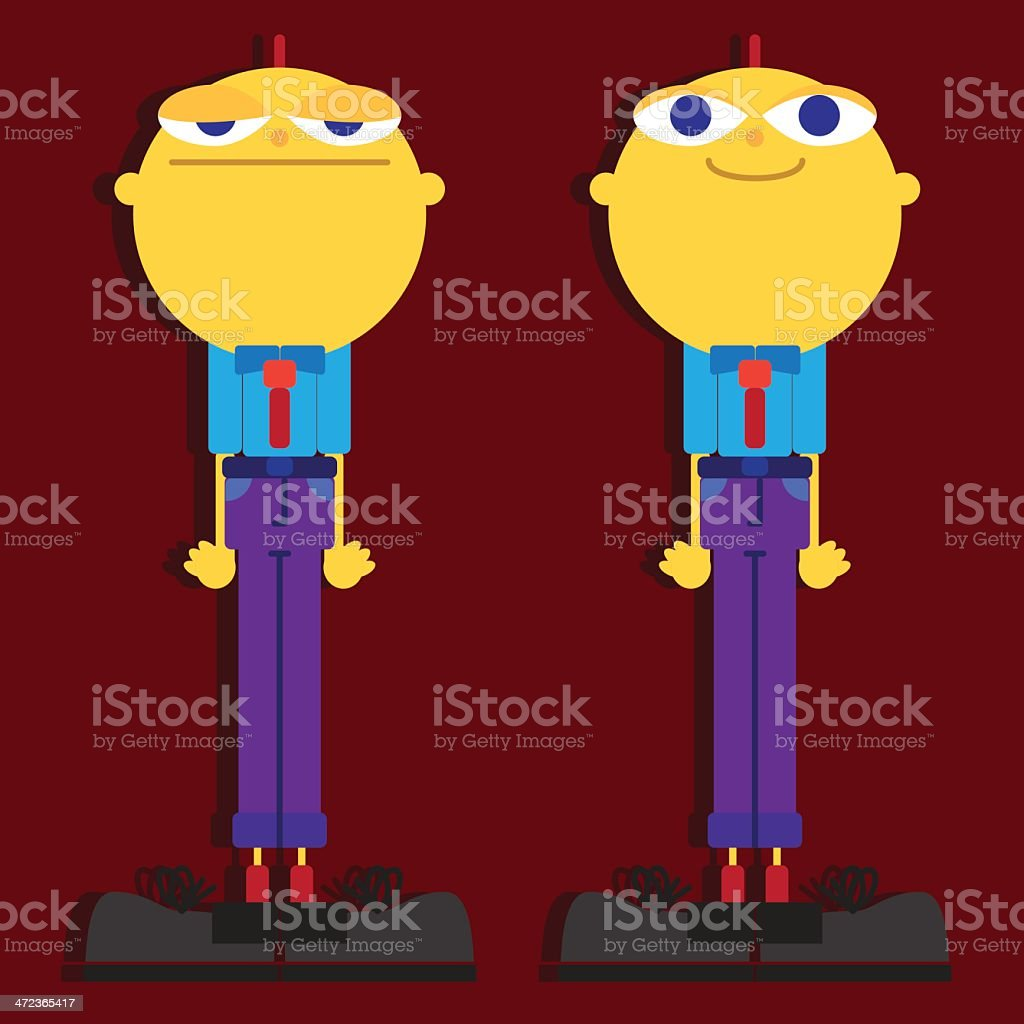 Happy Sad Office Worker Twins royalty-free stock vector art
