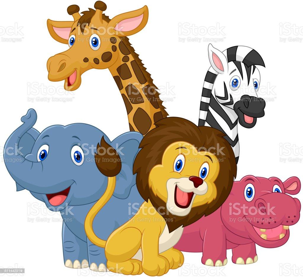 Feliz Dibujos Animados Animales Safari