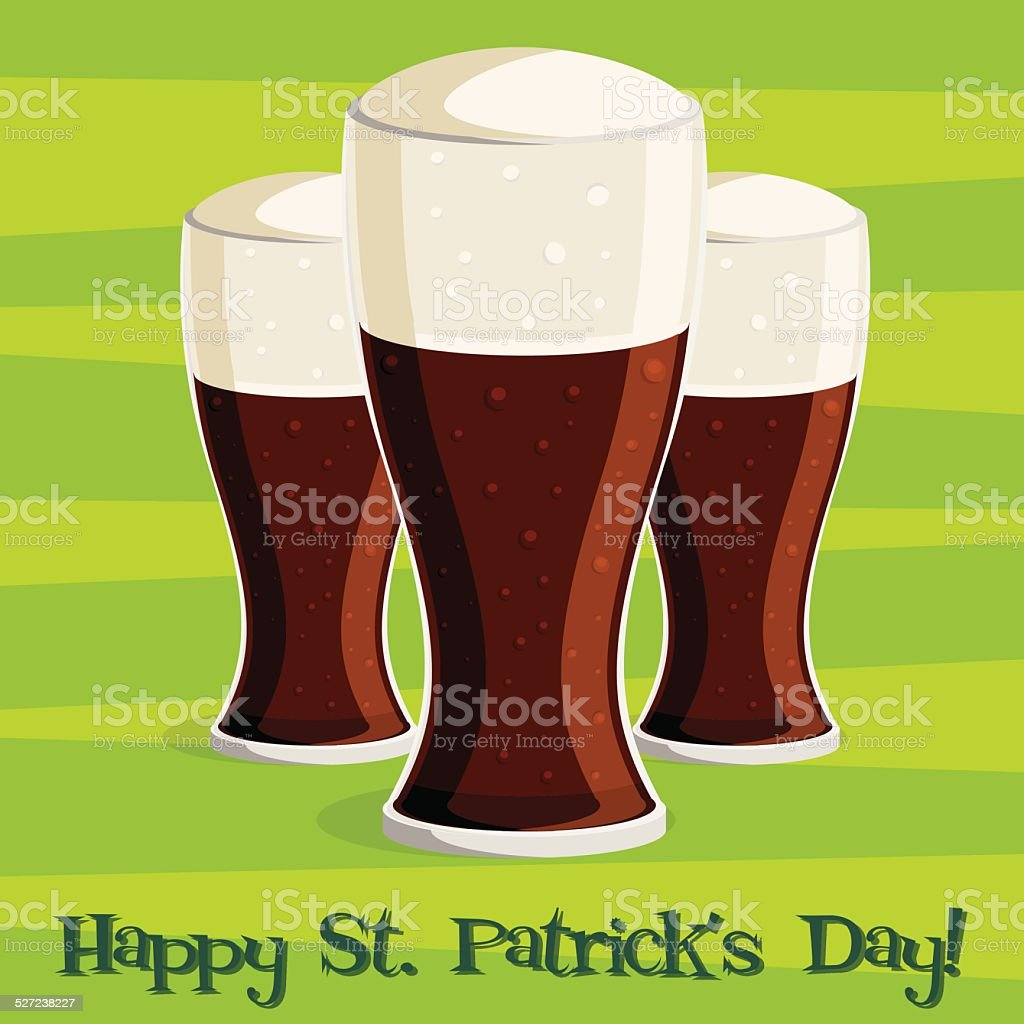 'Happy Saint Patrick's Day' beer card in vector format. vector art illustration
