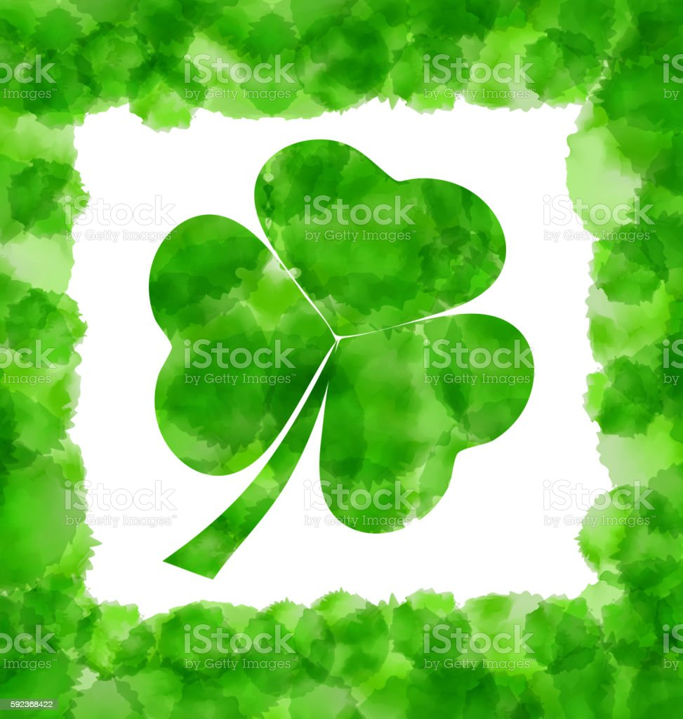 Happy Saint Patricks Day Watercolor Background with Clover vector art illustration