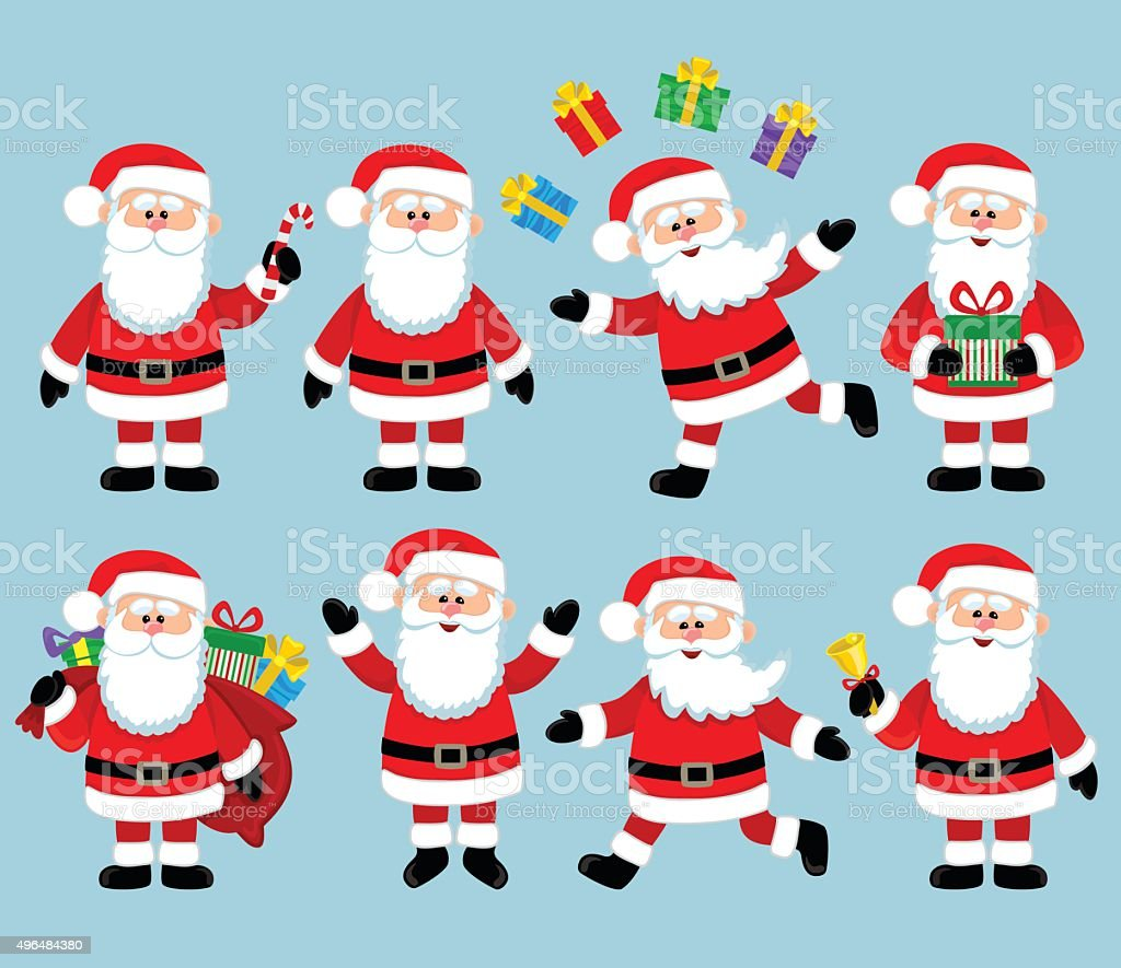 Happy Santa Claus. Big bundle vector set. vector art illustration