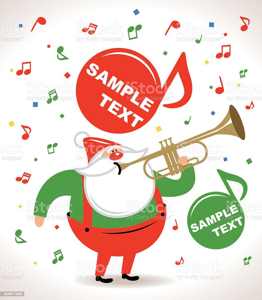 Happy Santa Claus blowing a trumpet, music notes flowing vector art illustration