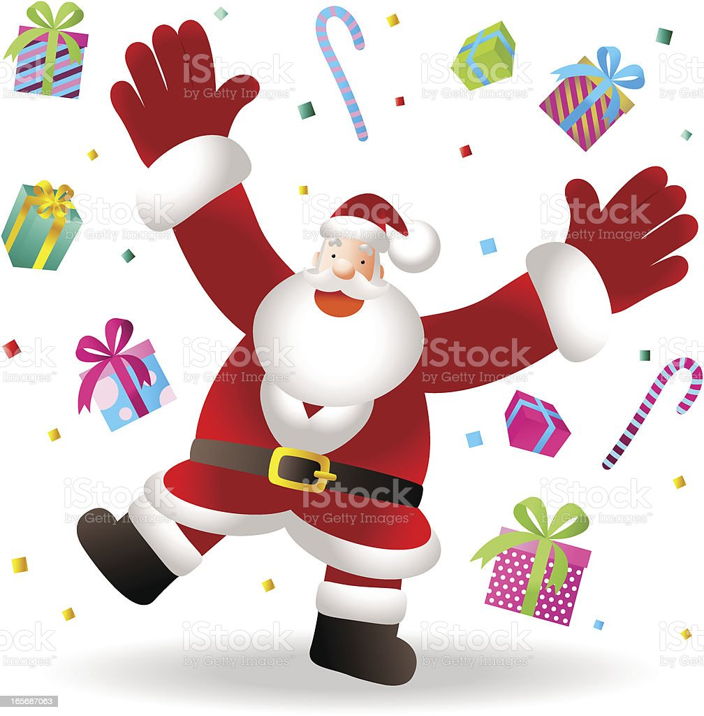 Happy Santa Claus Greeting, Here is your Christmas Present royalty-free stock vector art