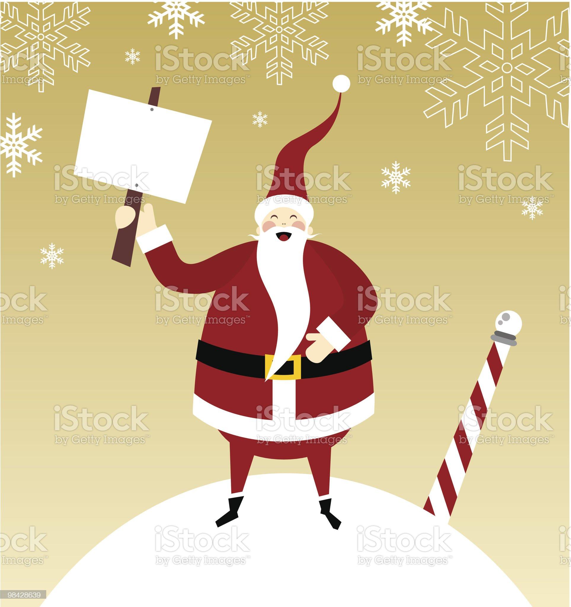 Happy Santa Claus on a snow mountain royalty-free stock vector art