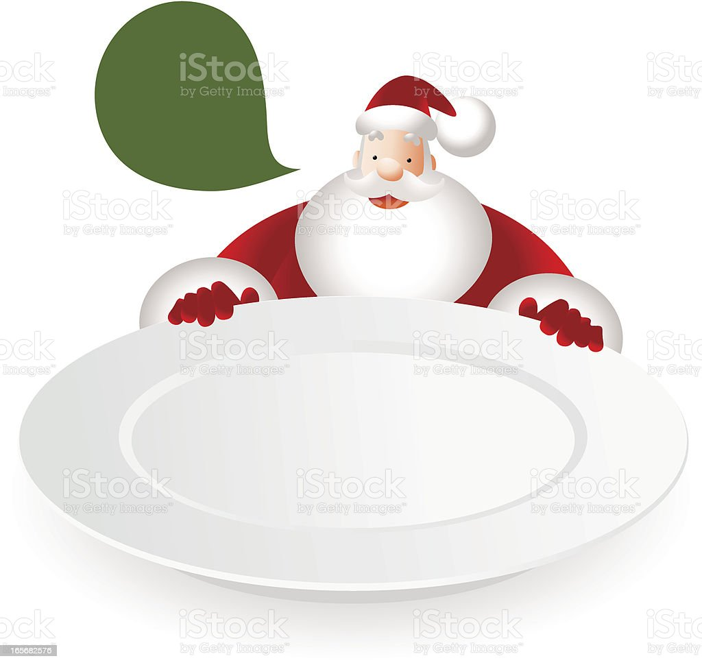 Happy Santa Claus Peeking Over The Blank Dinner Plate royalty-free stock vector art