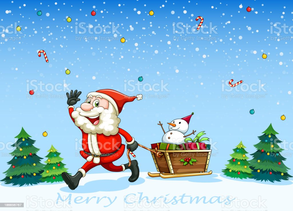 happy Santa Claus pulling the sleigh with a snowman royalty-free stock vector art