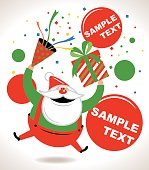 Happy Santa Claus smiling and jumping, giving gift, throwing confetti