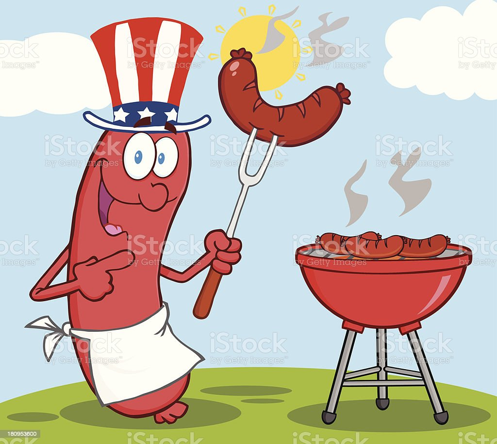 Happy Sausage With American Patriotic Hat Cook At Barbecue royalty-free stock vector art