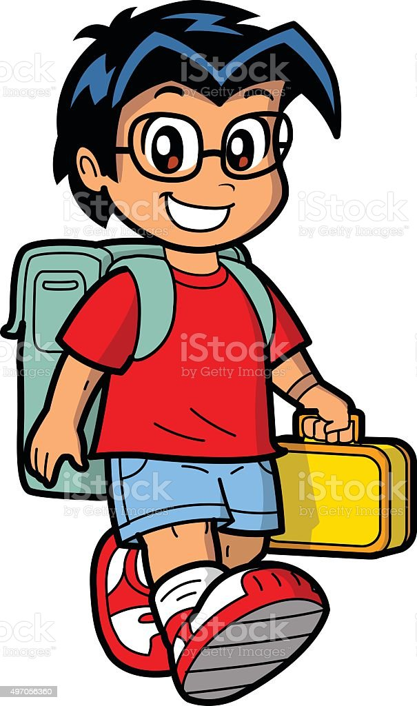 Happy Schoolboy vector art illustration