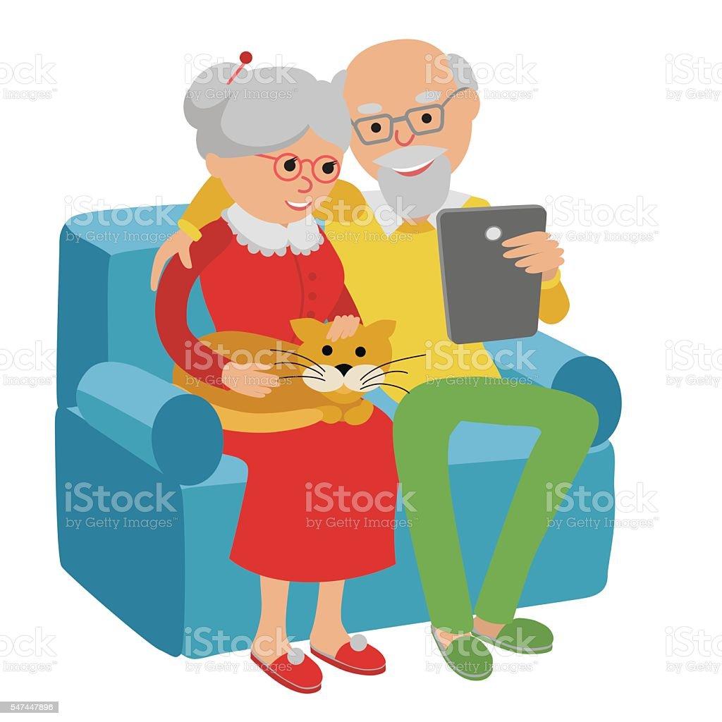 Happy senior couple sitting on sofa read with tablet. vector art illustration