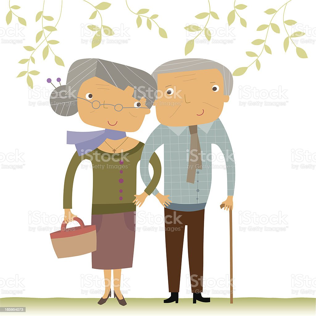 Happy Senior Couple vector art illustration