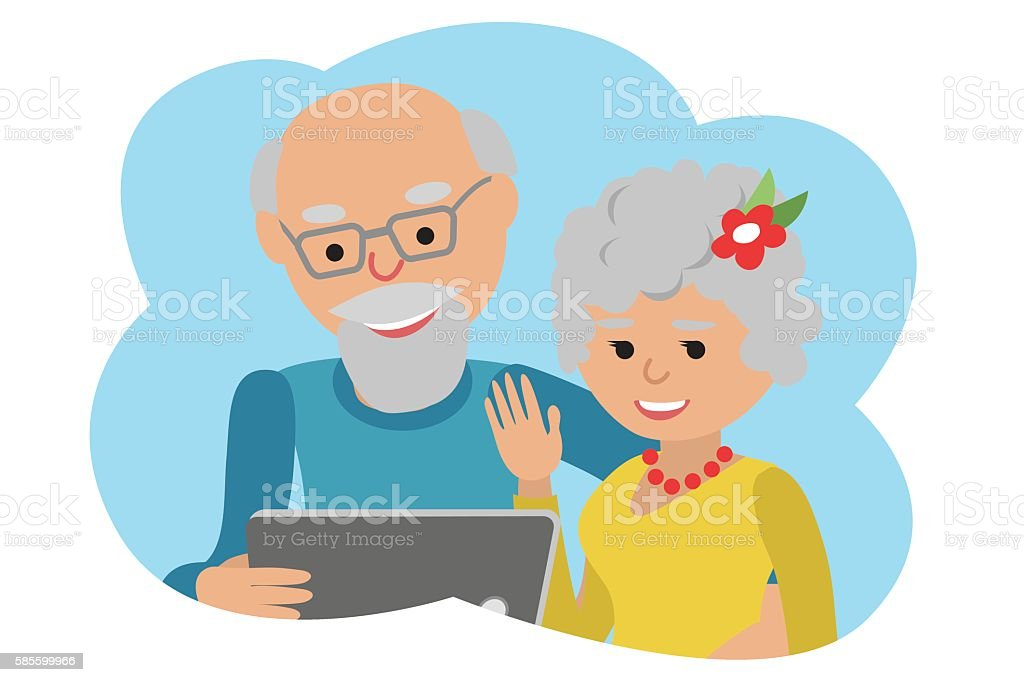 Happy senior couple with tablet. Vector illustration cloud icone vector art illustration