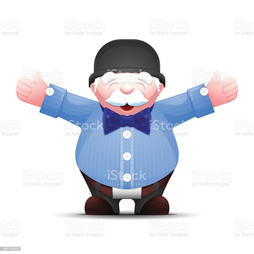 Happy senior man is standing with arms outstretched vector art illustration