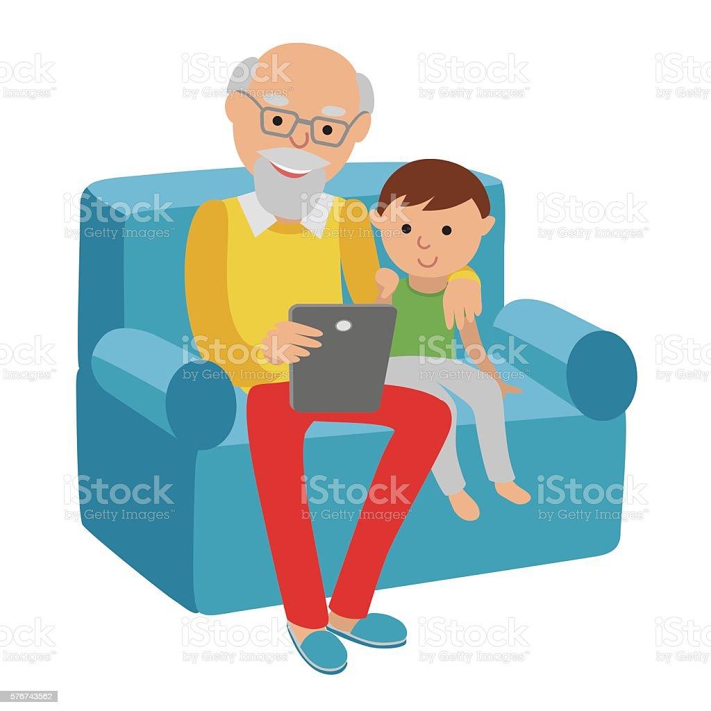 Happy senior man sitting sofa read with tablet for grandson. vector art illustration