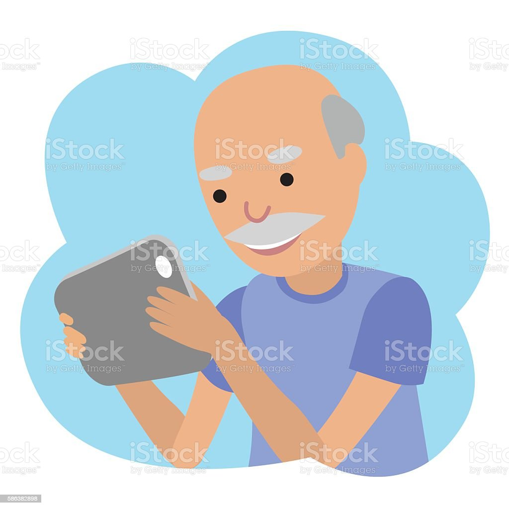 Happy senior man with tablet in hands. vector art illustration