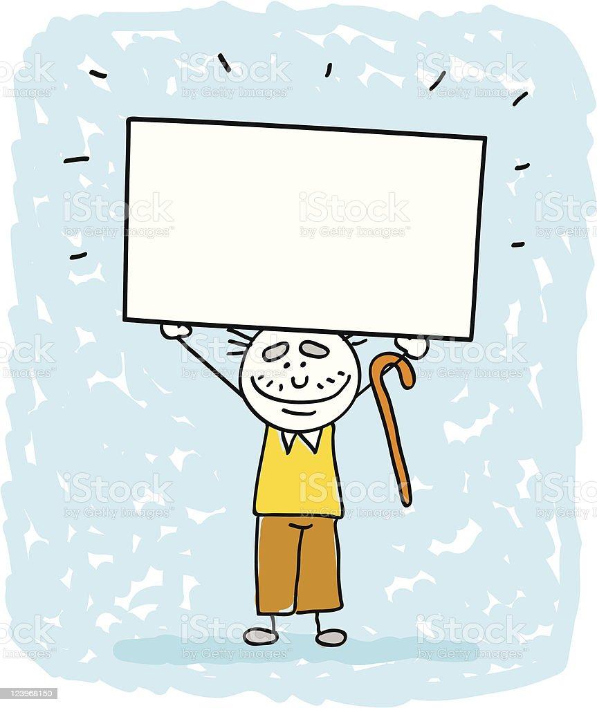 happy senior, old man, father holding blank banner cartoon illustration royalty-free stock vector art