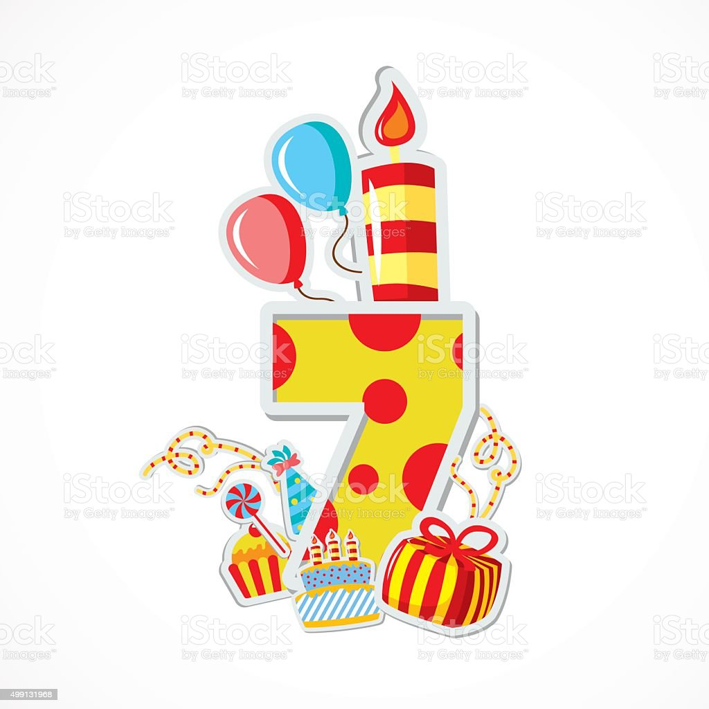 Happy seventh Birthday Anniversary - Illustration vector art illustration