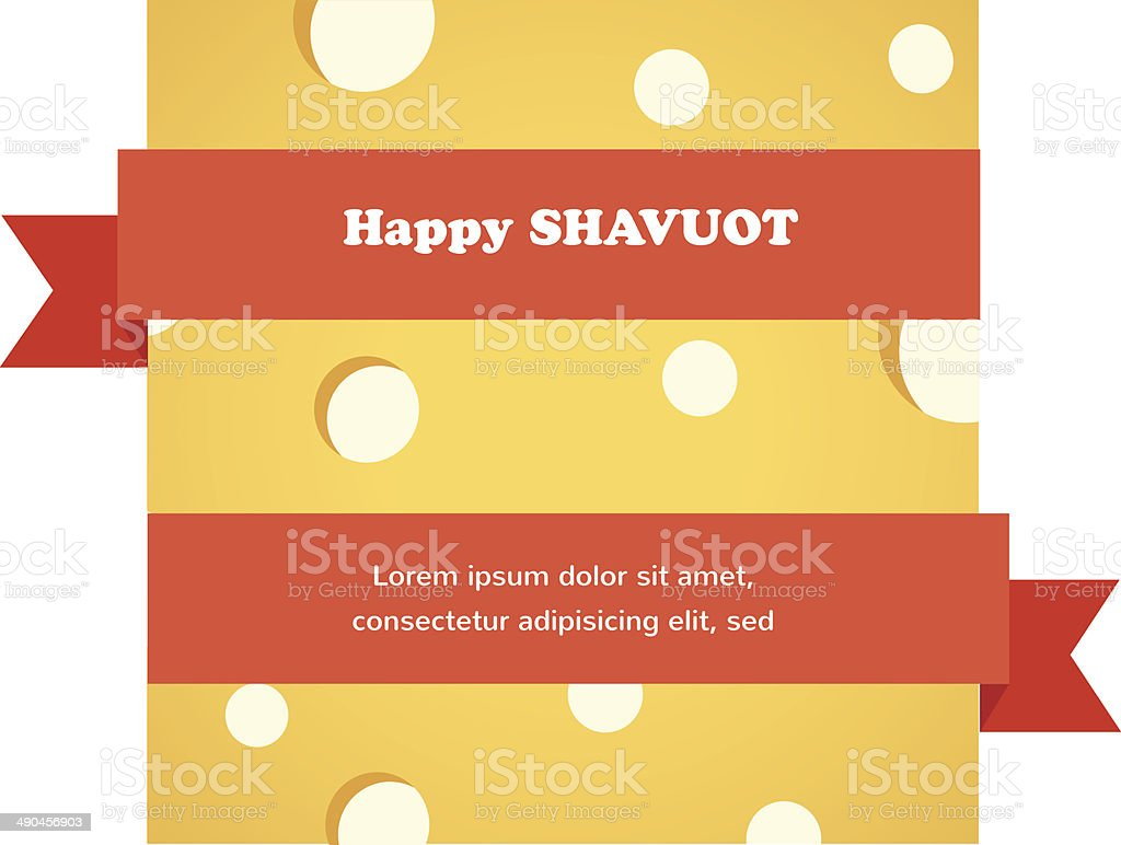happy Shavuot card with red ribbon around cheese vector art illustration