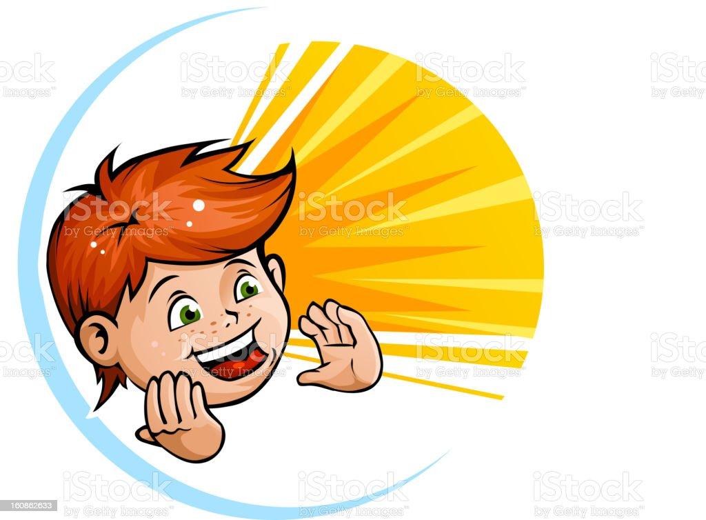 Happy shouting kid royalty-free stock vector art