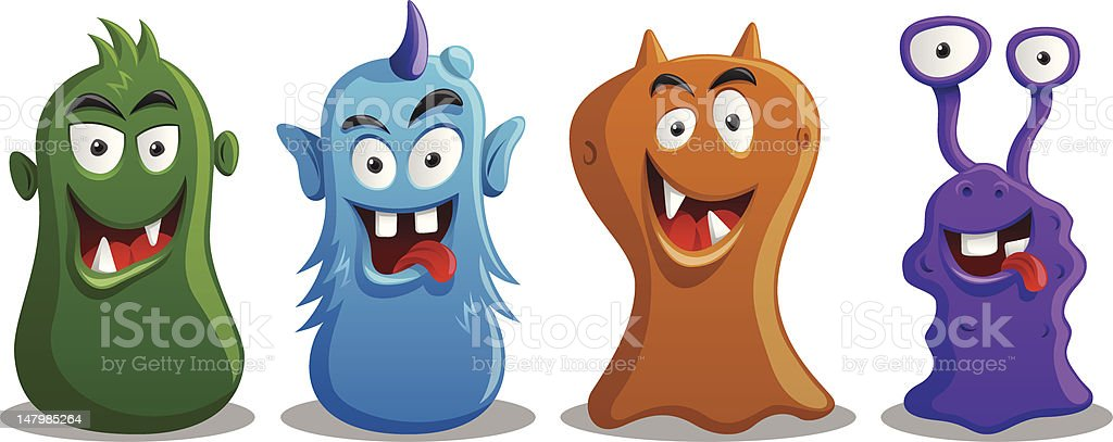Happy Silly Cute Monsters Set vector art illustration