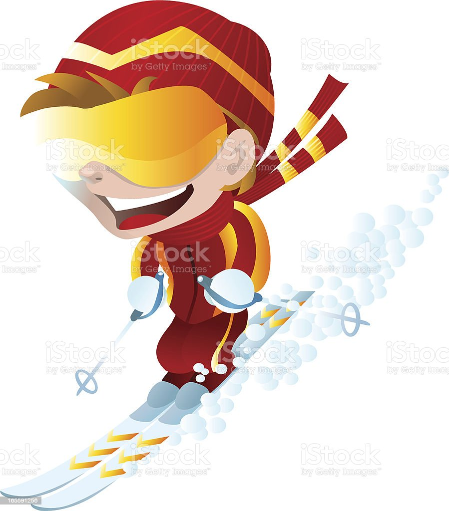 Happy Skier royalty-free stock vector art