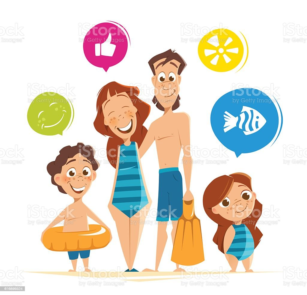 Happy smile healthy family on summer vacation vector art illustration