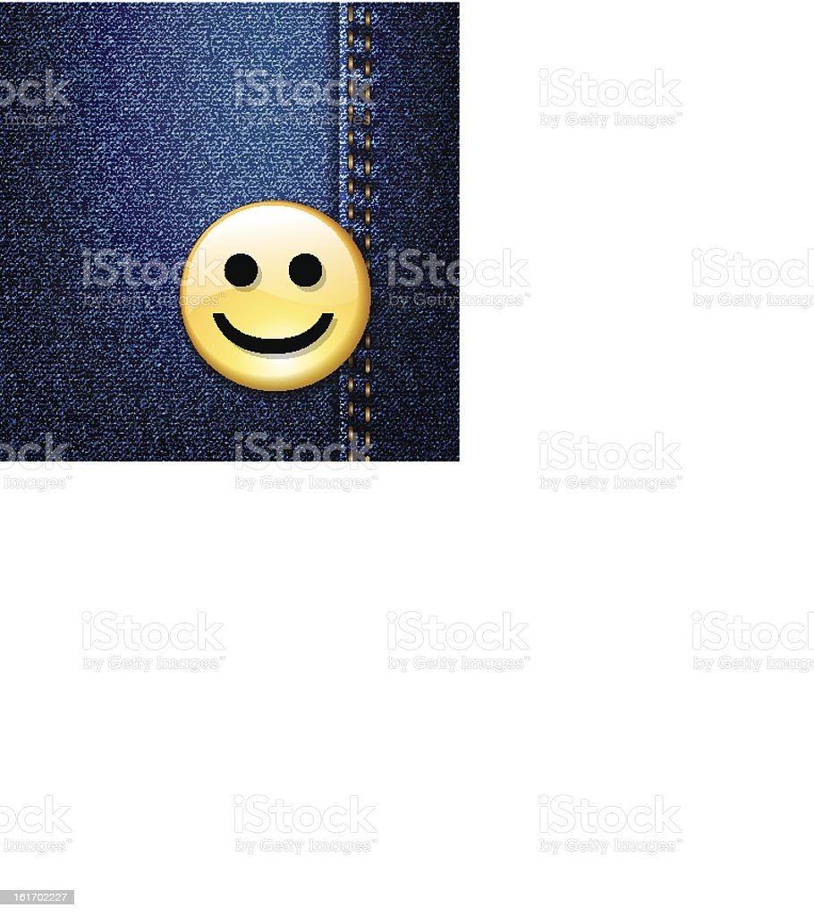 Happy smiley face badge on blue denim, vector royalty-free stock vector art
