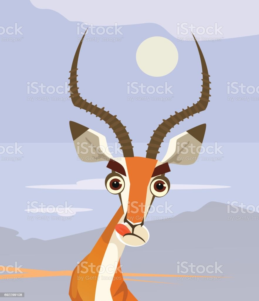 Happy smiling antelope character mascot chewing and looking vector art illustration