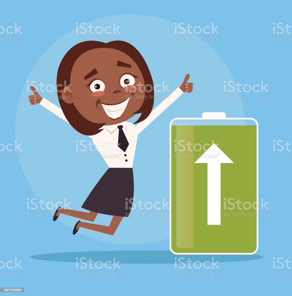 Happy smiling black African American business woman office worker character full of energy. Green battery vector art illustration