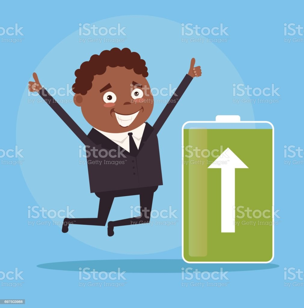 Happy smiling black African American businessman office worker character full of energy. Green battery vector art illustration
