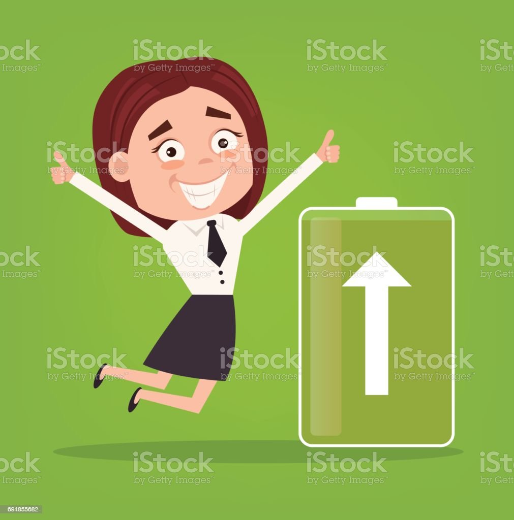 Happy smiling business woman office worker character full of energy. Green battery vector art illustration