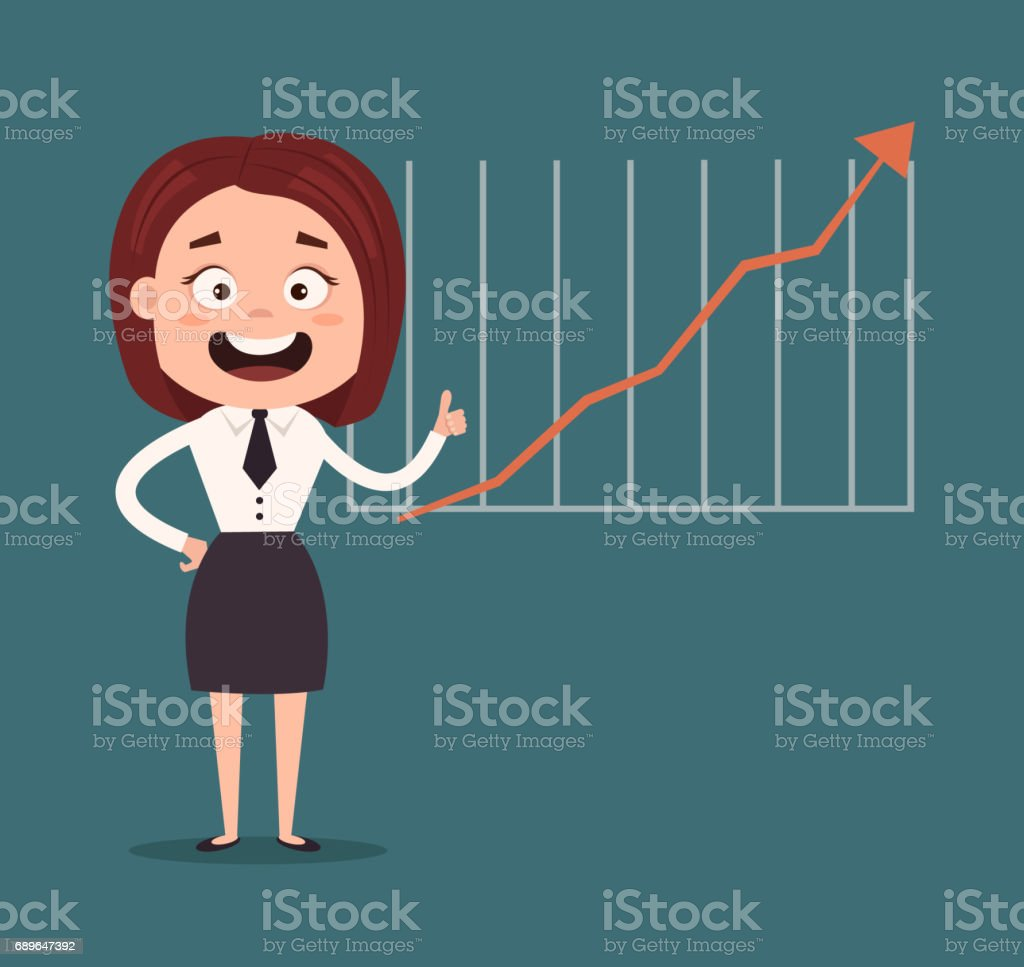 Happy smiling business woman office worker man character making presentation. Graph up vector art illustration